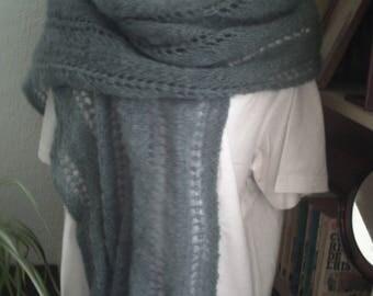 Hand stitch openwork knitted scarf