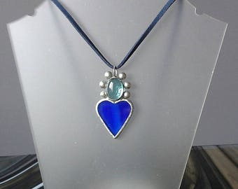 Original blue glass heart pendant necklace