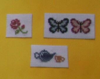 Set of 3 magnets - Pink - Butterflies - teapot