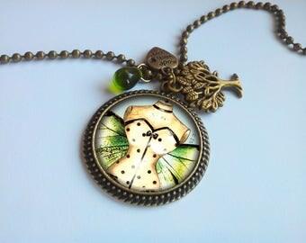 Bronze long necklace - pendant - fairy