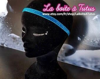 Bright headband effect glitter girl woman spangled TURQUOISE blue glitter hair accessory