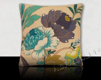 Cushion square Design-large flowers peonies-indigo/Turquoise/green jade/white/Moss on ivory background