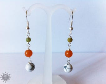set white Howlite, natural Taiwan jade and orange aventurine beads