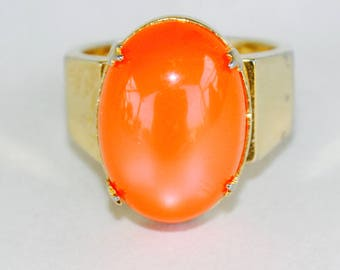 Bright Orange Vintage Stone Ring