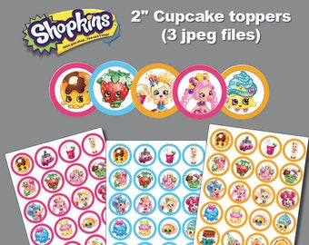 Instand DL -Shopkins  cupcake toppers 2 inch - sticker -for Cupcake, Balloon, Stickers, Lollipop, Favor bags, Cups