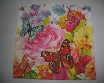 "Towel paper 33 x 33 ""the butterflies"""