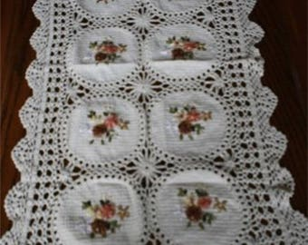 ribbons embroidered table runner