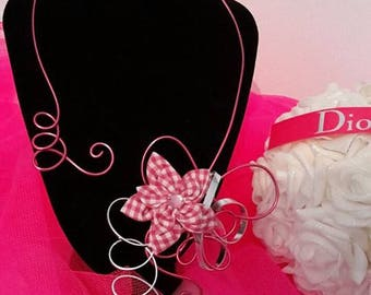 Handmade Rose necklace and silver gingham pink satin flower