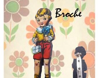 """Wooden brooch small Retro """"Sam"""""""