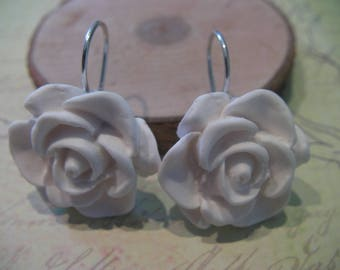 925 Sterling Silver White Rose earrings