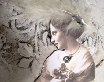 Nostalgic paper work, woman/Lady with lace dress... handmade, vintage, Brocante