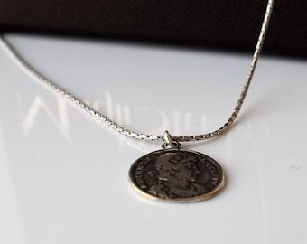 Men Necklace, Men Silver Necklace, Men Pendant Necklace, Silver Coin Pendant, Men Sterling Silver Chain, Men Choker Necklace, Men's Jewelry