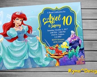 Little Mermaid Invitation, Little Mermaid Birthday, Little Mermaid Party, 5x7 Little Mermaid, Little Mermaid Printables Card, Little Mermaid