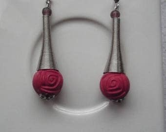 wood beads and spiral cone shape earrings