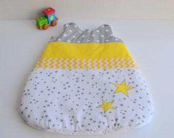 Sleeping bag sleeping bag 0-6 months handmade gray and yellow Chevron @lacouturebytitia stars
