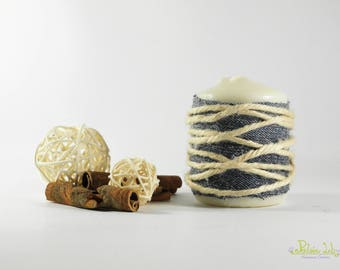 Candle decorated with jeans and hemp rope