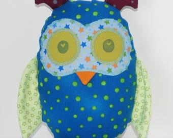 Personalized OWL with colorful patterned fabrics