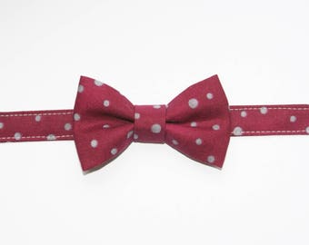 Bow tie for boy Burgundy with grey dots