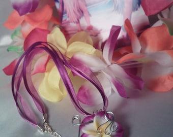 Fuchsia silver plumeria Flower necklace