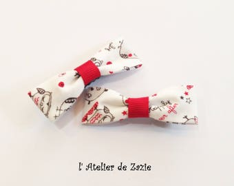 Hair clip bow tie on the bias with white cotton printed OWL X 2