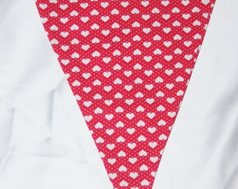High quality double sided bunting red & white hearts