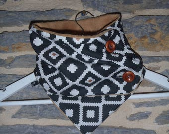 Adult winter - wide neck warmer (17 * 70 cm) ethnic black and white