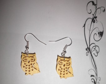 00505 - Yellow OWL wooden earrings
