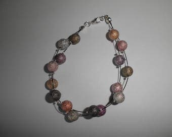 00949 - Bracelet double strands and granitees multicolored beads.