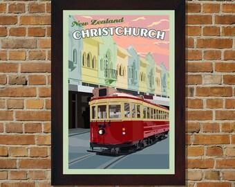 Christchurch New Zealand - Vintage Travel Poster
