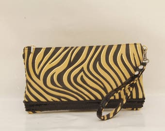 Zebra with sequins clutch with a strap