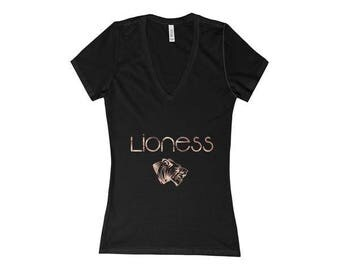 Lioness - Women's Deep V-Neck Jersey Tee