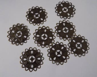 Set of 8 charms Bronze ethnic 35x35mm