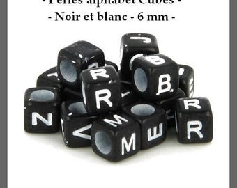 Alphabet Cubes - black beads and white - 6 mm - approximately 300 pcs - new