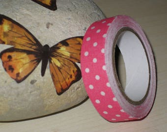 Background white polka dots pattern cotton duct tape rose 1.5 cm (3 meters)