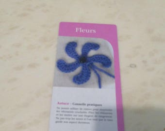 set of 5 crochet flowers cards