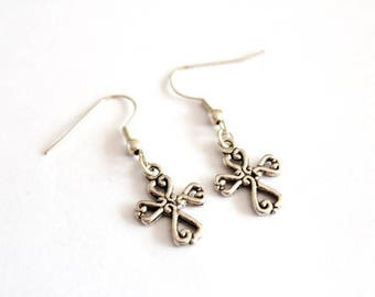 Cross earrings in silver #1