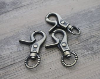 1 large lobster clasp for Keyring brass bronze 5 * 3cm