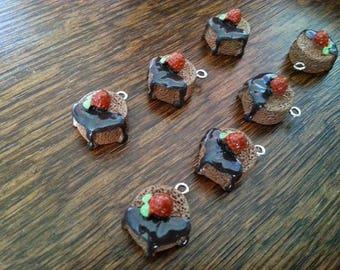 Chocolate cake charm and choco plastic package