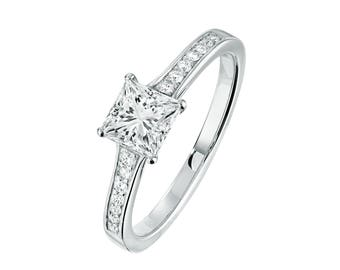 Solitaire engagement ring 1 ct white gold with diamonds