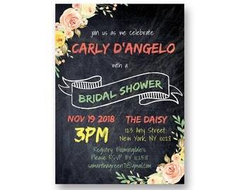 Chalkboard Bridal Shower Floral Invitation | INSTANT Download Edit & Print