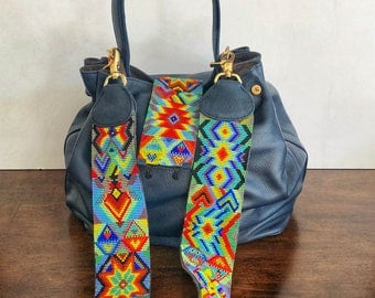Leather Handbag/Leather Beaded Bag/ Huichol Purse/ Leather Purse /Hobo Purse /Leather bag/ Bohemian Hobo Bag