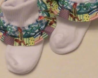 Zootopia ruffle socks, infant ruffle socks, character socks,  animal socks,  blue ruffle socks, baby socks, fun socks