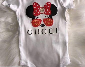 Gucci Minnie Mouse with Red Aviator Shades Onesie | Designer Inspired Onesie