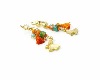 Earrings plated gold 24 K orange and turquoise