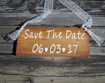 Custom SAVE THE DATE sign, wood sign, rustic wedding sign personalized, photo prop engagement photoshoot