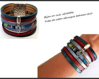 leather cuff bracelet ethnic leather Blue Burgundy green gray duck (gift) customizable