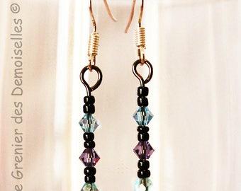 Pair of earrings dangling purple Azure / Blue Crystal