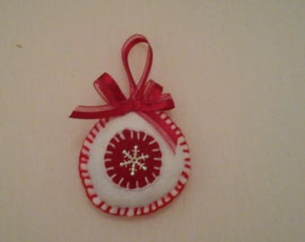 Christmas ornament in red white felt