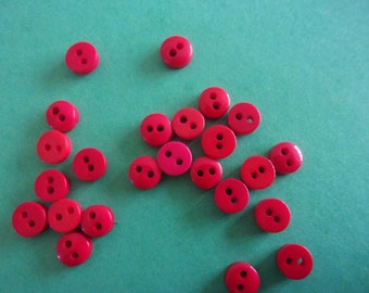 Set of 5 mini red resin, 2 hole buttons - 6mm
