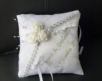 simple white and silver wedding ring cushion